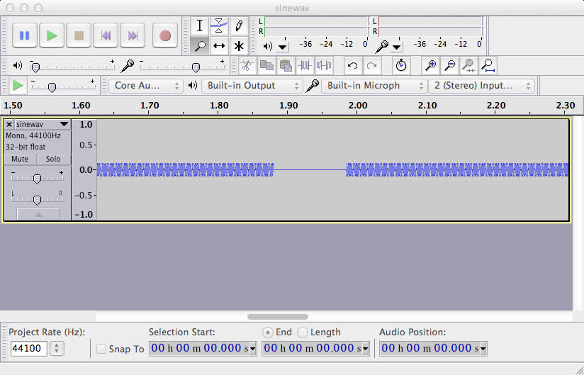 Audacity showing a corrupted flac file.
