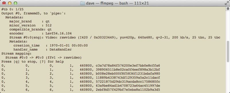 terminal output of ffmpeg evaluating framemd5 for an input file
